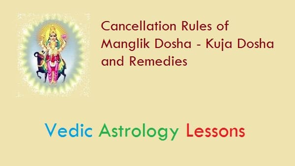 Cancellation of Manglik or Kuja Dosha and Pariharas or Remedies
